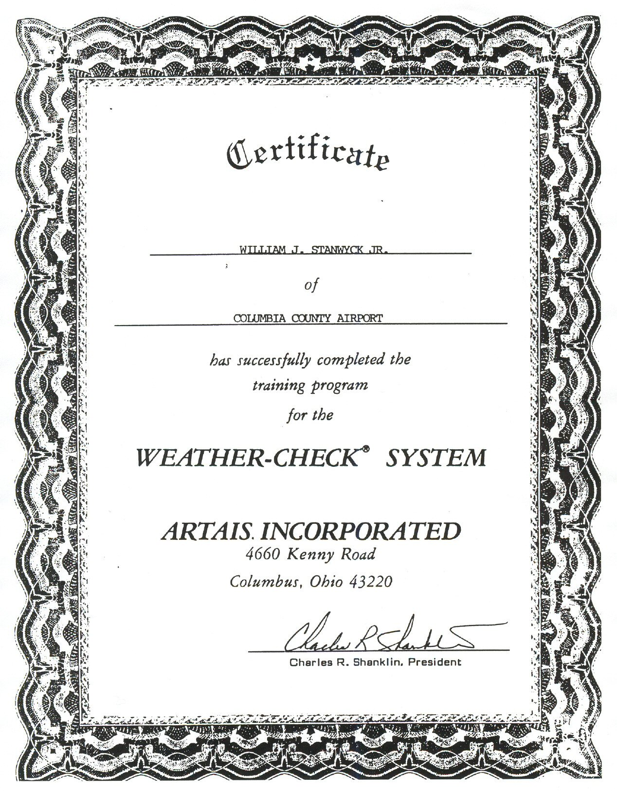 Stanwyck avionics certificate of completion of artais awos training xflitez Image collections