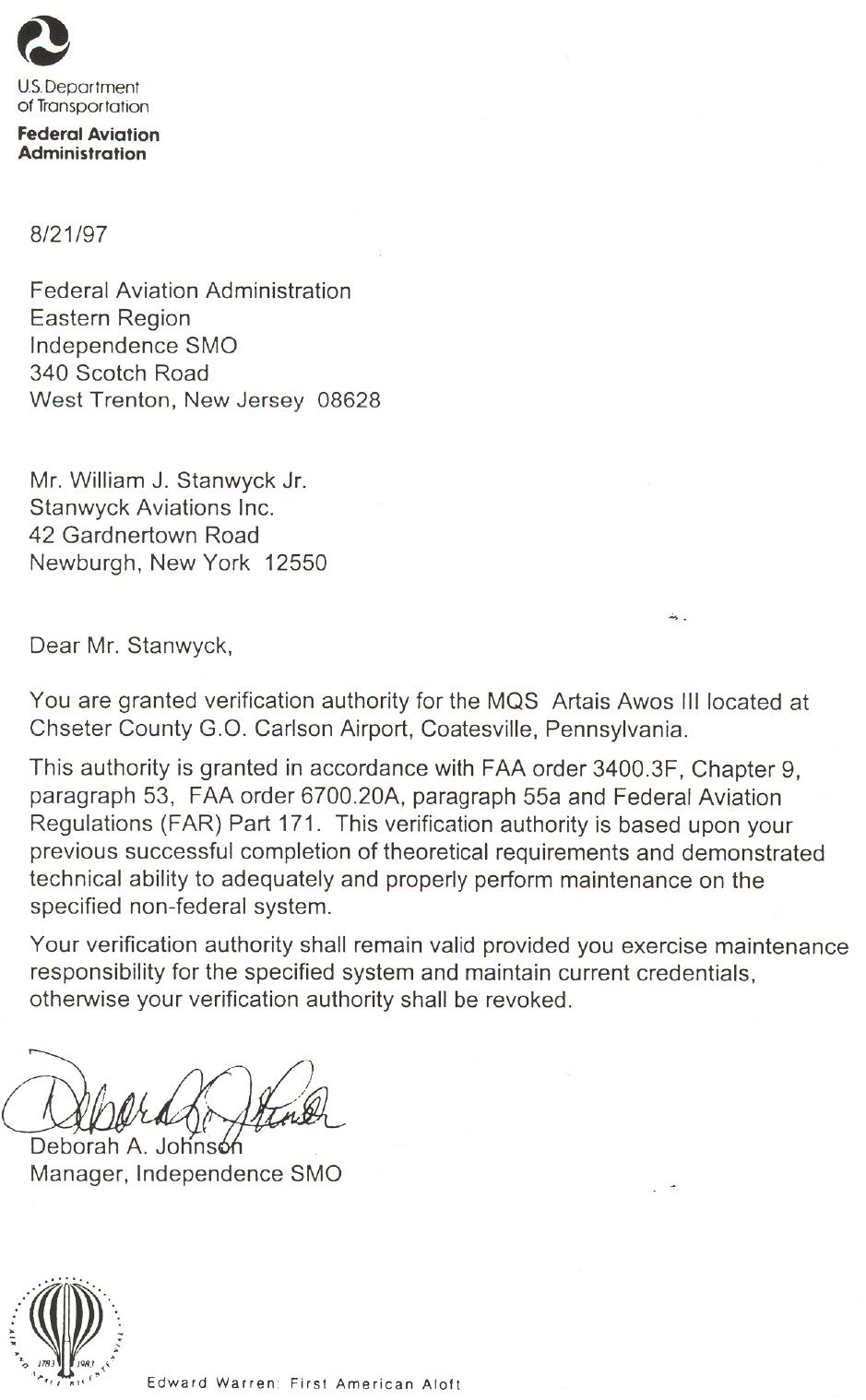 US Department Of Transportation Federal Aviation Administration Letter 2