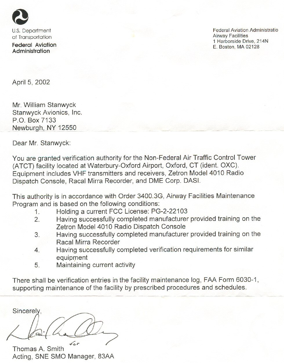 US Department Of Transportation Federal Aviation Administration Letter 3